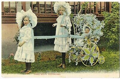 ANTIQUE S.A. POSTCARD: 'THREE SOUTH AUSTRALIANS' c1905-11 used/stamp/postmark