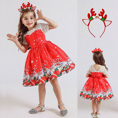 Kids Baby Girls Dress Santa Print Princess Dress Christmas Elk Hairband Outfits
