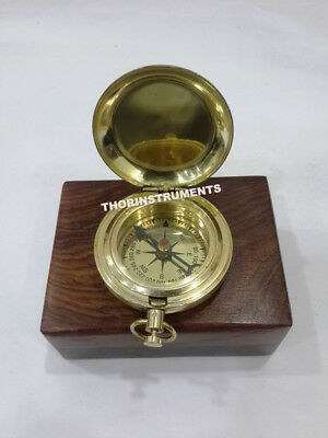 Vintage Nautical Brass Push Button Marine Maritime Compass With Plain Wooden Box