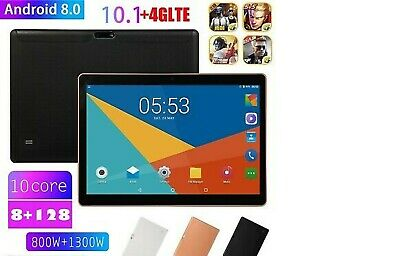 "10.1"" 4G-LTE Tablet PC 8+128G Ten Core Android 8.0 Wifi, Phablet 2 SIM GPS"