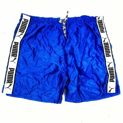 PUMA Mens Blue Vintage 1990s Shorts Nylon XXL Glanz Gym Ibiza