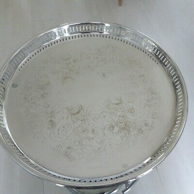 Vintage Chased Silver Plate Drinks Glasses Tray Waiter  Pierced Gallery 14 Inche