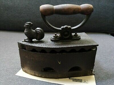 Coal Cast Sad Iron with Rooster Latch Victorian