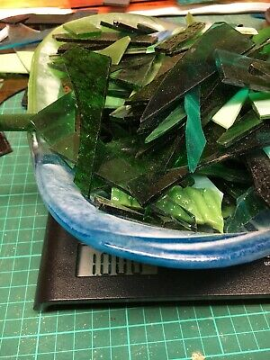 Stained Glass Offcuts For Mosaic/Jewellery - Greens