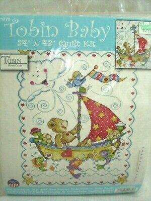 "Tobin Baby Stamped Cross Stitch Sailing Teddy Quilt Kit 34 x 43"" Finished Sz NEW"