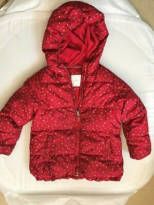 NEXT Girls Pink Quilted Style Winter Anorak Jacket Coat with Hood Age 5-6 Years