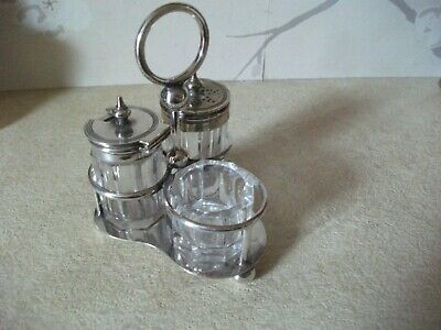 VINTAGE/Antique Silver Plated and Glass MINIATURE Condiment Set