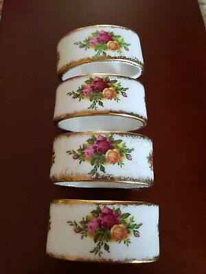 Royal Albert OLD COUNTRY ROSES Napkin Rings  ENGLAND Set of 4 excellent