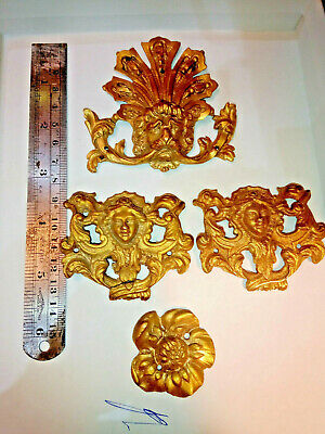 Antique bronze clock parts from a large boule clock (3) free postage mainland uk