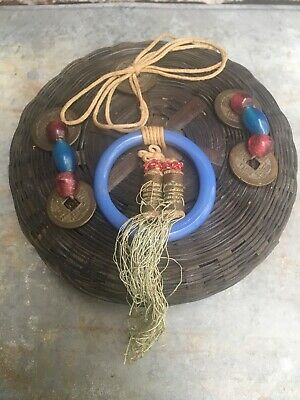 """Vintage Woven Wicker Sewing Basket Lid 6"""" Tassels & Asian Coin Trim Chinese"""