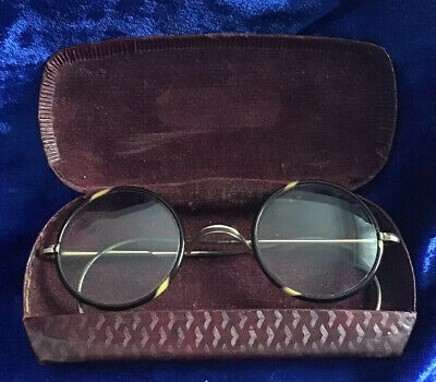 Pair Of Antique Bakelite & 10Ct Rolled Gold Bifocal Boxed Spectacles