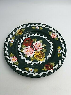 Canal Barge Ware Art Decorative Ceramic 24cm Plate Green Hand Painted Floral
