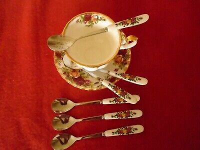 Royal albert Old Country roses   *** INSPIRED 6 TEA / COFFEE SPOONS VGC ****