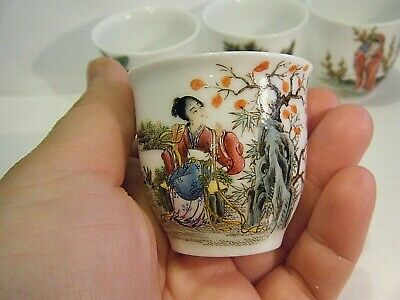 4 Vintage Small Chinese Porcelain Tea Cups Four Seasons With Hand Painted Maiden