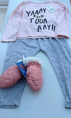 Next girls long sleeve top, jogging bottoms and thermal gloves age 3-4