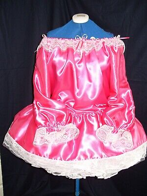 Sissy~Maids~Unisex~Cd/Tv~Fetish Bardot Style Pink Satin White Lace Dress