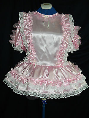 Sissy~Maids~ Adult Baby~Unisex ~ Cd/Tv~Fetish  Pink Satin And White Lace Dress