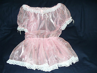 Sissy~Maids~ Adult Baby~Unisex~Fetish~ Cd/Tv Pink Organza & Lace Dress