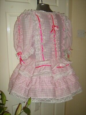 Sissy~Maids~Unisex~Cd/Tv ~ Fetish Pink Gingham And White Lace Dress