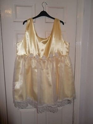 Adult Baby~Sissy~Maids~Unisex~Tv/Cd  Lemon Satin, Organza And Lace Dress