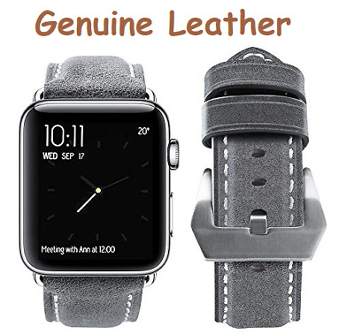 Genuine Leather Band in Gray for Apple Watch iwatch 38mm 40mm A03