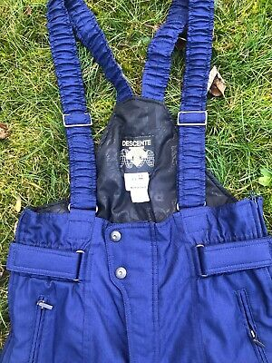 Descente Full-Zip Bib Overalls Ski Snow Pants Snowboard Size 34 Men's Blue Suit