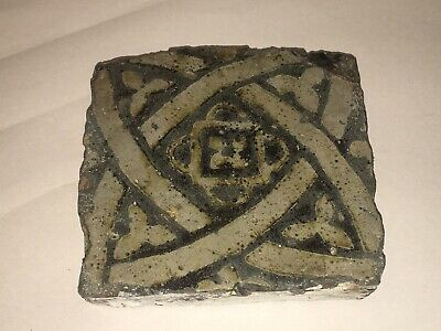 Antique 13th Century Medieval Clay Tile With Design Architectural C