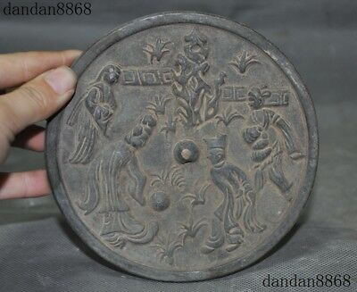"6""Old China Dynasty Palace Pure Bronze Ancient Characters Fengshui Copper mirror"