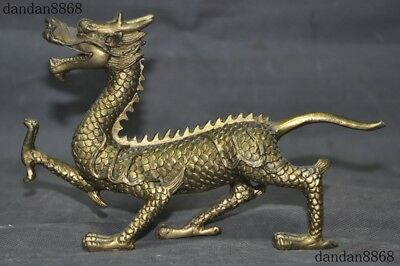 Collection China Brass Copper Fengshui Exorcism Zodiac Beast Dragon Loong Statue