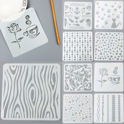 2PCS Reusable Plastic Painting Drawing Template Stencils for DIY Art Project