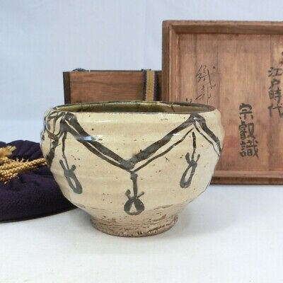 E496: Japanese tea bowl of old ORIBE pottery with good taste w/judgment box.