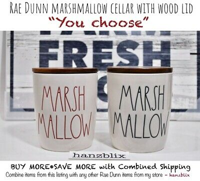"Rae Dunn Canister Cellar MARSHMALLOW Wood Lid Christmas ""YOU CHOOSE"" NEW '19"