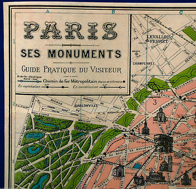 Vintage Map Of Paris Poster Print France French Eiffel Tower Champs Elysees