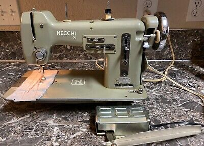 Necchi Bu Mira Sewing Machine Vintage Italy Knee Lever Tested Works Free Ship