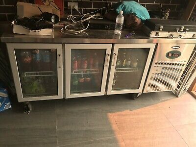 Commercial Fridge Quipwell 3 Door Bar Chiller Cooler Bench Stainless Steel 380L