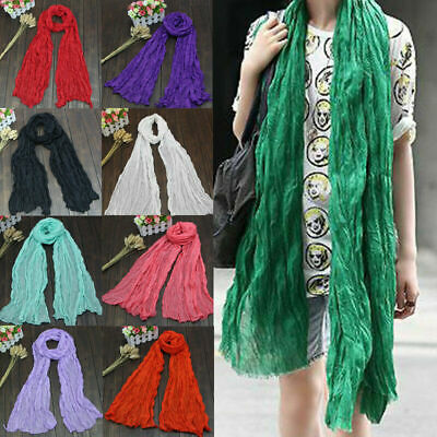 Winter Autumn Warm Long Voile Scarf Shawl Wrap Solid Color Women Lightweight