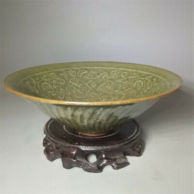 Old Chinese Song Dyn Cracked Glaze porcelain Handmade Carving Flowers Bowls