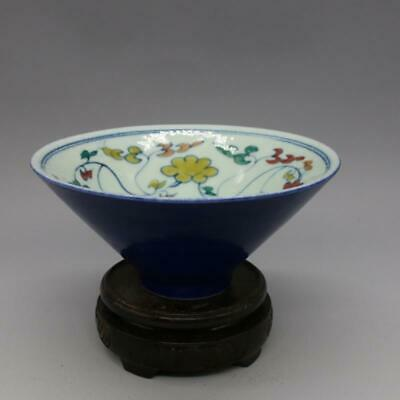 Marked Old Chinese Ming Dyn Xuande Blue glaze porcelain flower Tea Cups Bowl