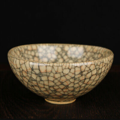 Old China Chinese Song Dyn Guan Kiln Yao Cracked glaze porcelain Tea Cups Bowl