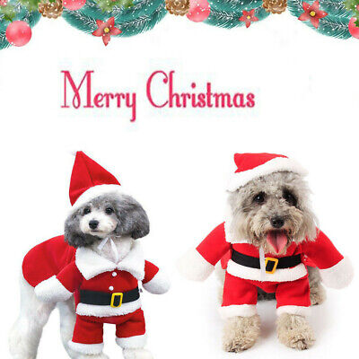 UK Christmas Pet Small puppy Dog Cat Santa Claus Costume Outfit Jumpsuit Cosplay