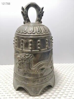 22CM Collectible china dynasty Old Handwork Carved dragon Statue big bronze Bell