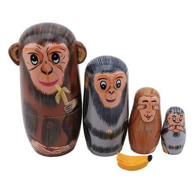 Fun Wood Nesting Babushka Matryoshka Monkey Dolls Hand Painted Birthday Gift LL