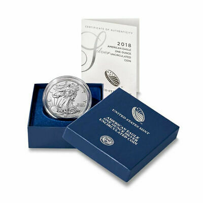 2018-W Burnished $1 American Silver Eagle Box, COA (low mintage) Collectors Coin
