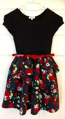 Girls Blue Zoo dress, black top with red patterned skirt and red belt age 8