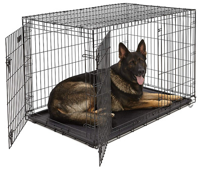 Pet Dog Cat Crate Kennel Cage & Bed Plastic Pad Pan Soft Cozy House, Kit Playpen