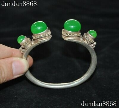 Old Chinese Dynasty Palace Silver inlay Green Jade Gem Jewelry bracelet Bangle