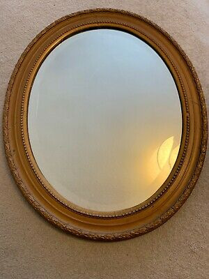Vintage Oval Wall Mirror Wooden Frame Gold Gifted Wood Bevelled Glass