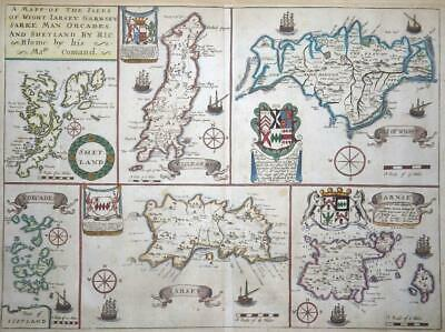 c1673 - Antique Map by Blome Channel Islands JERSEY SHETLAND SARK ORKNEY (LM4)