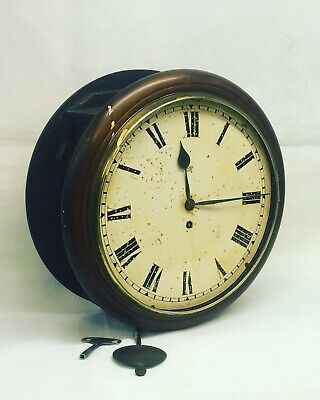 Victorian Mahogany double sided Fusee railway station waiting room clock