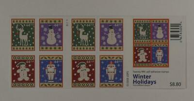 US SCOTT 4428b BOOKLET OF 20 WINTER HOLIDAYS STAMPS 44 CENT FACE MNH